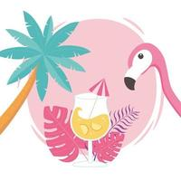 flamingo bird, cocktail and palm tree with exotic tropical foliage vector