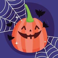 Happy halloween image with cute pumpkin vector