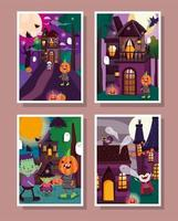 Happy halloween, trick or treat card set vector