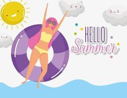 woman hello summer holiday design vector