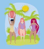 mujer hola diseño de vacaciones de verano vector