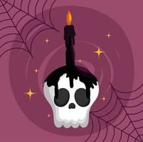 Happy halloween image with cute skull and candle vector