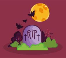 Happy halloween image with cute tombstone vector