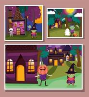 Happy halloween, trick or treat card set with cute characters vector