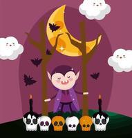 Happy halloween image with cute vampire vector
