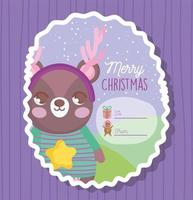 Christmas gift tag with winter character vector