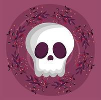 Happy halloween image with cute skull vector