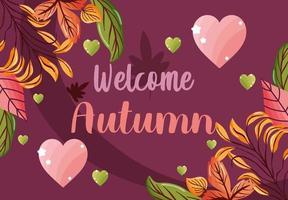 welcome autumn leaves season image vector
