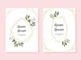 Wedding invitation card set with decorative frame e floral elements vector