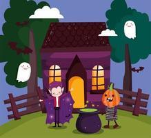 feliz halloween, juego de tarjetas de truco o trato con personajes lindos vector