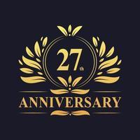Diseño de 27 aniversario, lujoso logo de aniversario de 27 años de color dorado. vector