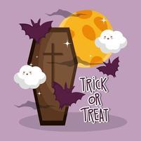 feliz halloween imagen con lindo ataúd vector