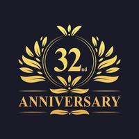 32nd Anniversary Design, luxurious golden color 32 years Anniversary logo. vector
