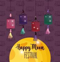 lantern happy moon festival image vector