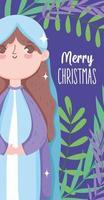 feliz navidad y natividad con maria vector