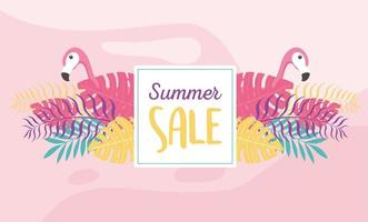 Summer sale with tropical vibes vector