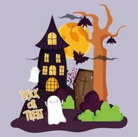 Happy halloween image with haunted house vector