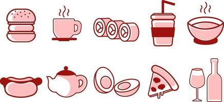 Food selection set, illustration, vector on white background.