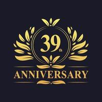 39th Anniversary Design, luxurious golden color 39 years Anniversary logo.