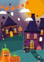 Happy halloween, trick or treat with cute characters vector