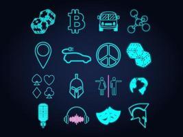 conjunto de iconos, letreros y símbolos de luz de neón. ilustración vectorial