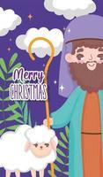 feliz navidad y natividad con joseph vector