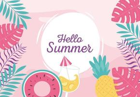 Hello summer banner with tropical vibes vector