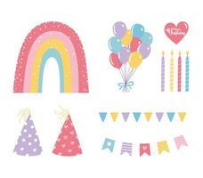 colorido conjunto de iconos de cumpleaños vector