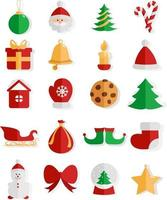 Christmas spirit, illustration, vector on white background icon set