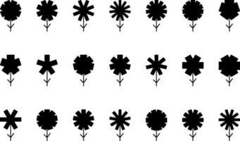 flores negras, ilustración, vector sobre fondo blanco.