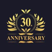 30th Anniversary Design, luxurious golden color 30 years Anniversary logo
