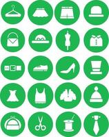 Clothing sewn by hand, illustration, vector on white background icon set