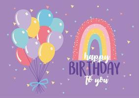 Colorful birthday card with balloon and rainbow vector