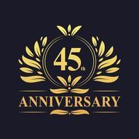Diseño de 45 aniversario, lujoso logo de aniversario de 45 años de color dorado. vector