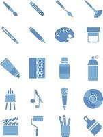 Art tools, illustration, vector on white background icon set