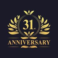 31st Anniversary Design, luxurious golden color 31 years Anniversary logo. vector