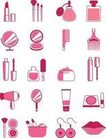 Pink make up icon set vector