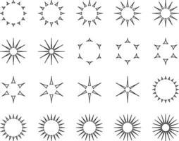 Minimal collection of various sun rays set vector