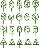 Green trees in different shapes, illustration, vector on white background set