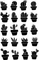 Black cactus plants in a pot icon set vector