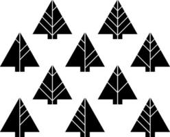 Set of black fir trees, illustration, vector on white background.