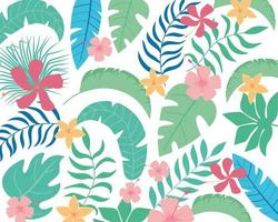 Summer tropical leaves and flowers background vector