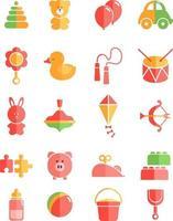 Kids toys, illustration, vector on white background icon set