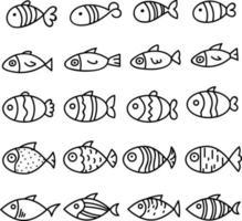Diferentes tipos de peces, ilustración, vector sobre fondo blanco.