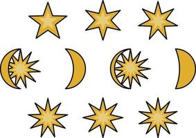Moon and star phases, illustration icon set vector