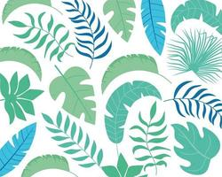 Summer tropical leaves background vector