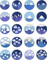 Weather in the mountains icon set vector