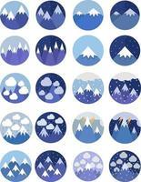 tiempo en el conjunto de iconos de montañas vector