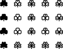 Various types of black and white clover leaves set vector
