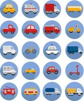 Different kinds of transport, illustration, vector on white background icon set